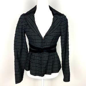 Nanette Lepore Black Blazer Jacket Velvet Waist 4